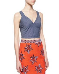 Elle Sasson Brooklyn Shantung Crop Top Chambray Size 38 6 Us Chambre