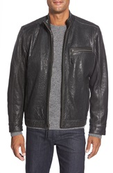 Missani Le Collezioni Lambskin Leather Moto Jacket Black