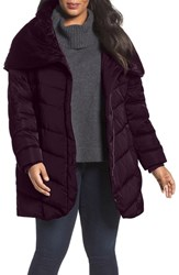 Tahari Plus Size Women's Matilda Shawl Collar Quilted Coat Merlot