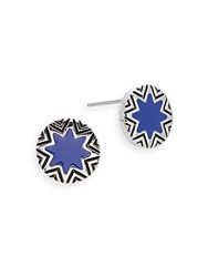 House Of Harlow Summer Sunburst Button Earrings Cobalt