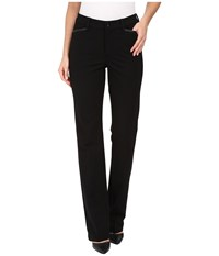 Nydj Marilyn Straight Pants In Ponte Knit W Faux Leather Trim Black Women's Casual Pants