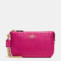 Coach Lacquer Rivets Nolita Wristlet 19 In Pebble Leather Light Gold Cerise