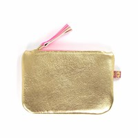 Tovi Sorga Leather Purse Metallic Gold And Neon Pink Gold Pink Purple