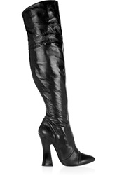 Vivienne Westwood Glossed Textured Leather Knee Boots