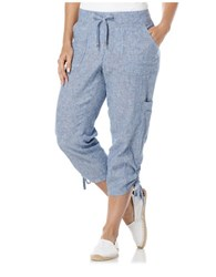 Rafaella Linen Classic Fit Capri Pants True Blue