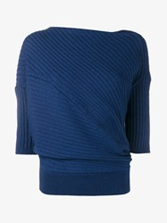J.W.Anderson Merino Wool Twisted Front Knitted T Shirt Navy