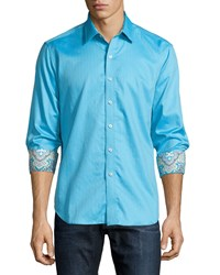 Robert Graham Mcclaine Long Sleeve Woven Sport Shirt Aqua Blue