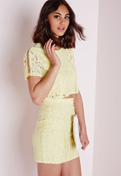 Missguided Lace And Ladder Detail Mini Skirt Yellow Green