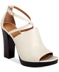 Calvin Klein Women's Baida Strappy Platform Sandals Women's Shoes Soft White
