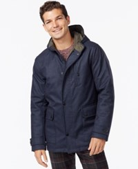 Kenneth Cole Hooded Jacket With Quilted Lining Navy