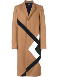 Msgm Large Plaid Single Breasted Coat Nude Neutrals
