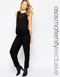 Asos Maternity Jumpsuit With Mesh Insert Black