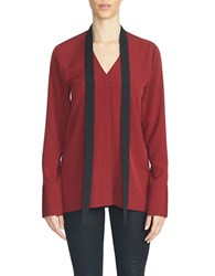 1.State Long Sleeve Tie Neck Colorblock Blouse Wine