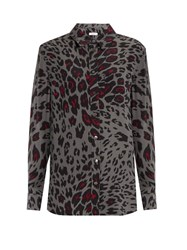 Equipment Signature Cheetah Print Silk Shirt Grey Multi