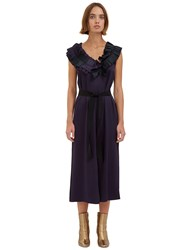 Maison Rabih Kayrouz Long Satin Ruffled Dress Navy