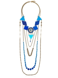 Maria Zureta Blue And Gold Chain Long Necklace Gold Blue