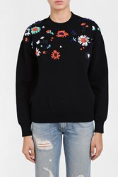 Victoria Beckham Embroidered Flower Sweater Black