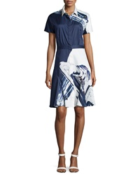 Prabal Gurung Short Sleeve Flared Shirtdress Navy