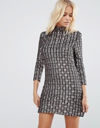Goldie Alexa Square Sequin Shift Dress Grey