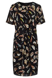 Sugarhill Boutique Yvette Feather Print Tie Dress Black