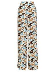 Etro Wide Leg Abstract Print Silk Trousers White Multi
