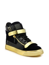 Giuseppe Zanotti Double Zip Velvet Metallic High Top Sneakers Navy Gold