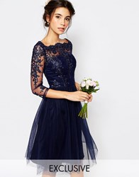 Chi Chi London Bardot Neck Midi Dress With Premium Lace And Tulle Skirt Navy