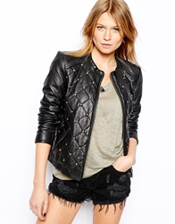 Mango Leather Quilted Stud Jacket Black
