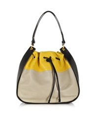 Sonia Rykiel Gautier Color Block Leather Hobo Bag Black