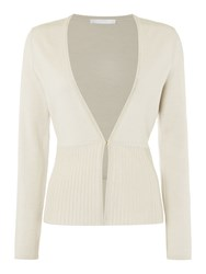 Hugo Boss Fily Wool Mix V Neck Peplum Cardigan Beige