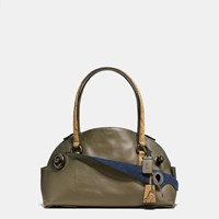 Coach Outlaw Satchel In Colorblock Python Black Copper Olive