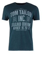Tom Tailor Fitted Print Tshirt Black Streaked Petrol Melange