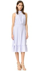 English Factory Mock Neck Dress White Blue