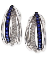 Effy Collection Royale Bleu By Effy Sapphire 3 8 Ct. T.W. And Diamond 1 4 Ct. T.W. Hoop Earrings In 14K White Gold Blue