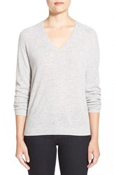 Women's Nordstrom Collection Double V Neck Cashmere Sweater Grey Clay Heather