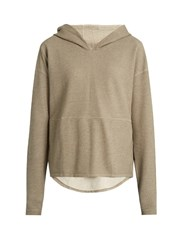 The Upside Hooded Cotton Pique Performance Sweatshirt Beige