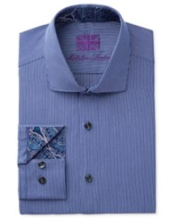 Michelsons Of London Slim Fit Blue Pencil Stripe Dress Shirt