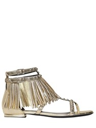Saint Laurent 10Mm Nu Pieds Metallic Leather Sandals