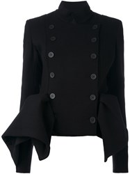 Capucci Double Breasted Draped Jacket Black