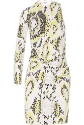 Issa Venice One Shoulder Printed Jersey Mini Dress Bright Yellow