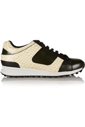 3.1 Phillip Lim Trance Snake Print Patent Leather Sneakers White