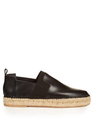 Balenciaga Elastic Panel Leather Espadrilles Black