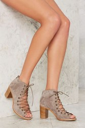 Nasty Gal Cors Bootie Taupe Suede