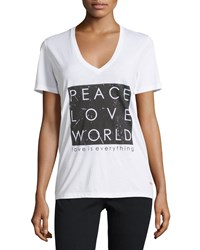 Peace Love World Kim Short Sleeve Graphic Tee White