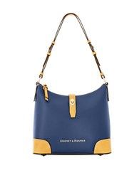 Dooney And Bourke Claremont Two Tone Leather Hobo Bag Navy