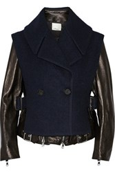 3.1 Phillip Lim Convertible Leather And Wool Blend Biker Jacket Black