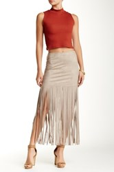 Ontwelfth Vegan Faux Suede Skirt With Extra Long Fringe Beige