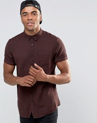 New Look Shirt With Short Sleeves In Burgundy In Regular Fit Dark Red