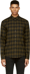 Costume N Costume Army Green Plaid Cotton Flannel Button Down Shirt