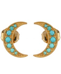 Andrea Fohrman Gold Mini Crescent Moon Studs With Turquoise